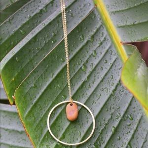 Simple Long Gold Necklace with Hoop and River Rock